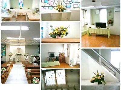 教会の結婚式で会場装飾♪(2017/09/07)